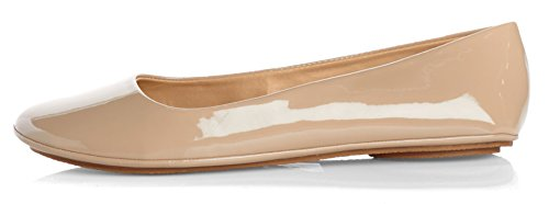 On Basic Round Patent Soda Flats Toe Slip Womens Beige Ballet X6O75w