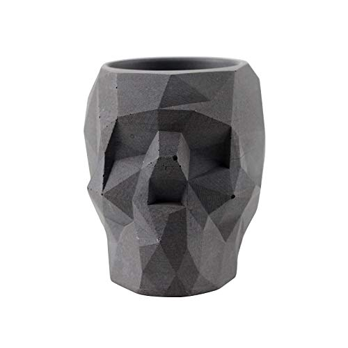 SaveStore Nicole Silicone Concrete Mold Skull Flowerpot Mould Polygon Skeleton Shape Handmade Craft Cement Halloween Planter Tool