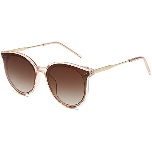 SOJOS Retro Round Sunglasses for Women Oversized Mirrored Glasses DOLPHIN SJ2068 with Clear Brown Frame/Gradient Brown Lens