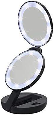 ポータブル化粧鏡 コンパクトミラー化粧鏡ポケット化粧鏡のダブルミラーの誕生日結婚 5倍の倍率 回転式化粧鏡 (色 : Black