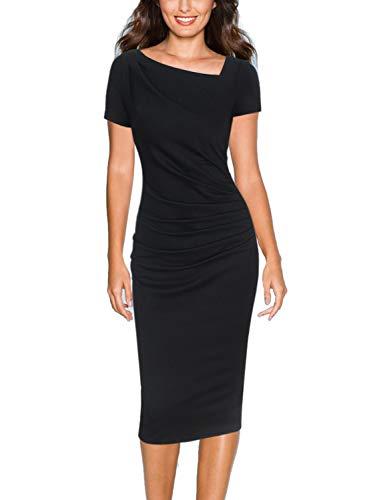- VFSHOW Womens Asymmetrical Neck Ruched Draped Work Business Sheath Dress 1227 BLK XL
