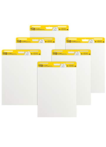 Post-it Super Sticky Easel Pad, 25 x 30 Inches, 30 Sheets/Pad, 6 Pads (559VAD6PK), Large White Premium Self Stick Flip Chart Paper, Super Sticking Power ()