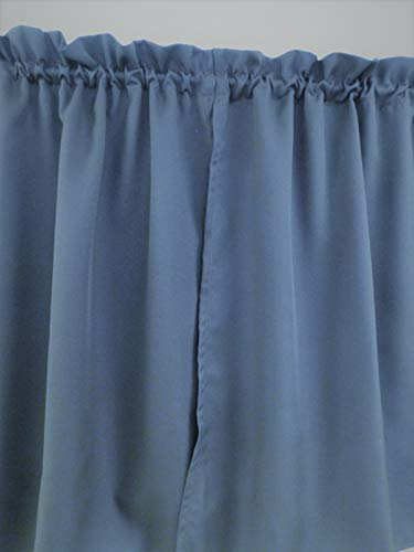 (Solid slate blue, curtain - 2 panels/Tiers - cafe style, Window/Kitchen, Bath, Laundry, basement, office kids daycare schools, restaurants, Curtain Wedgwood 32