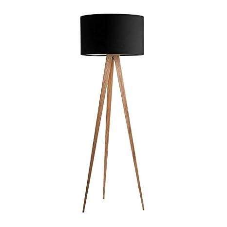 Tree – Lámpara de pie tripode Metal Madera & Tejido Negro H160 cm – Lámpara de pie Sampa Helios designé par