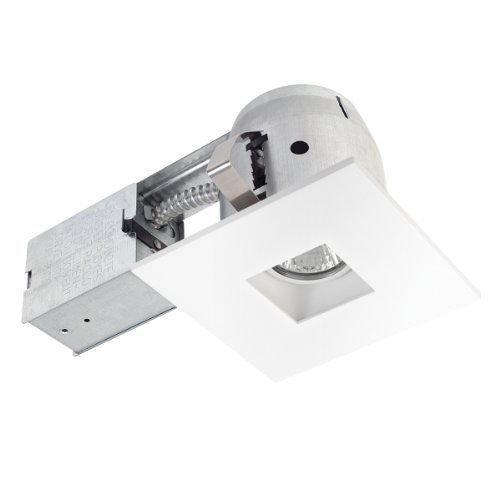 Globe Electric 4 inch Square Swivel Spotlight Die-Cast Recessed Lighting Kit Downlight, White Finish, Easy Install Push-N-Click Clips by Globe Electric