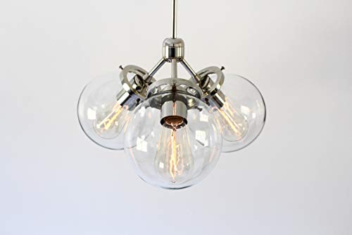 Pendant Light, 3 Clear Glass Bubble Globes, Chrome Finish, Modern Ceiling Mount Lighting Fixture