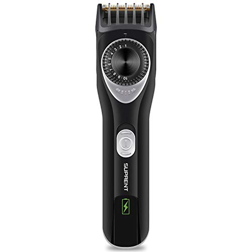 SUPRENT Beard Trimmer with Precision Dial, Body Groomer with 7 Built-in Adjustable Precise Lengths, Portable Travel Bag & USB Charging