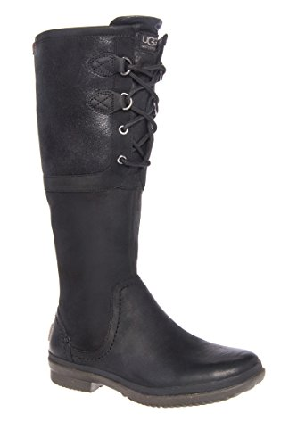 UGG Women's Elsa Black Leather Boot 6 B (Ugg Elsa)