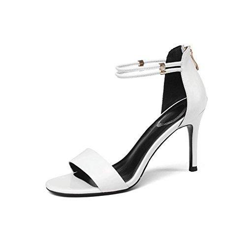 pie de del Open Toe Altos pie Trasera del de de Tacón Cremallera Sandalias Blanco Mujeres Zapatos Tacones Alto Verano Las del BW8wCO