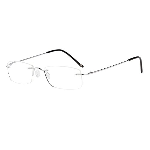 LianSan Titanium Lightweight Reading Glasses Men Womens Fashion Rimless Readers Glasses 8085 (+2.50, Silver)