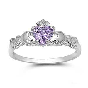 9MM 2ctw Sterling Silver Simulated LAVENDER LIGHT PURPLE HEART ROYAL IRISH Claddagh Ring 4-10 -