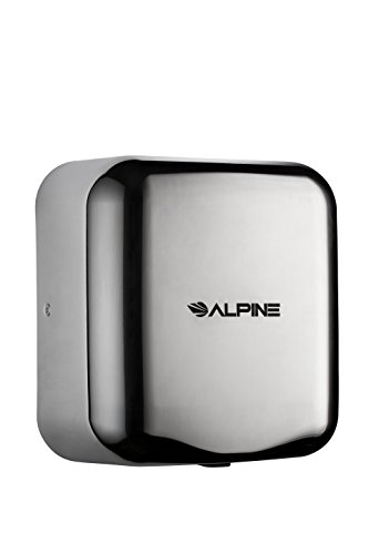 Alpine Industries 400-10-CHR Alpine Hemlock Automatic Hand Dryer - Heavy Duty Stainless Steel - Commercial High Speed Hot Air Hand Blower | 1800Watts | 110-120Volts | Quick & Easy Installation, Chrome