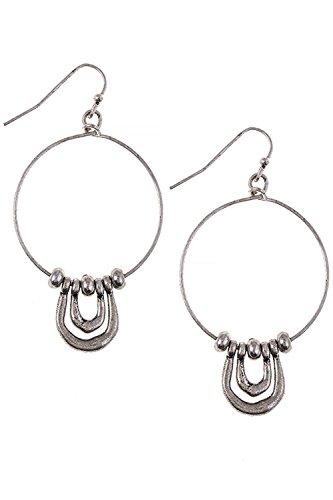 18k Hammered Hoop Earrings - 5