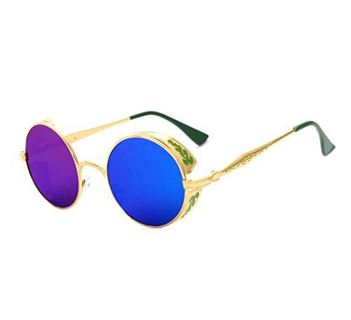 de Gafas marco marco polarizado tridimensional no redondo de Verde Dorado de de Patrón unisex metal Steampunk Reflejo clásico sol retro t71qEx7r