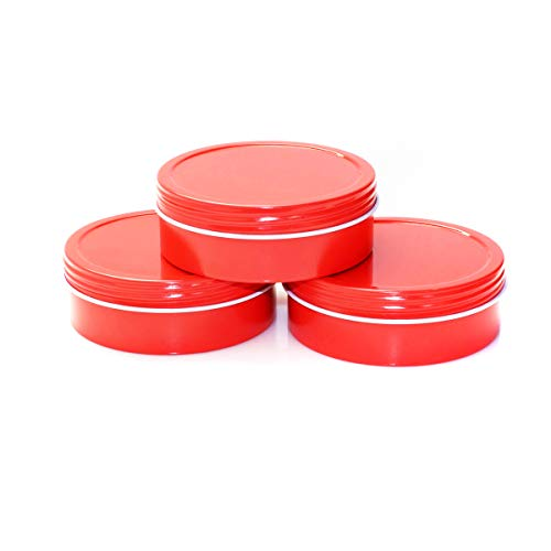 (Mimi Pack 1 oz Tins 24 Pack of Shallow Screw Top Round Tin Containers with Lids For Cosmetics, Party Favors, Gifts (Red))