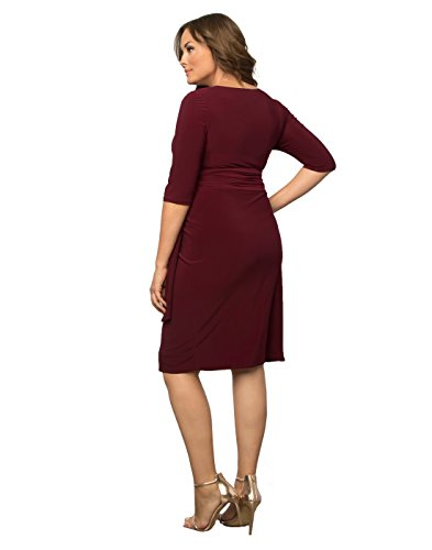Kiyonna Women's Plus Size Harlow Faux Wrap Dress 1X Merlot