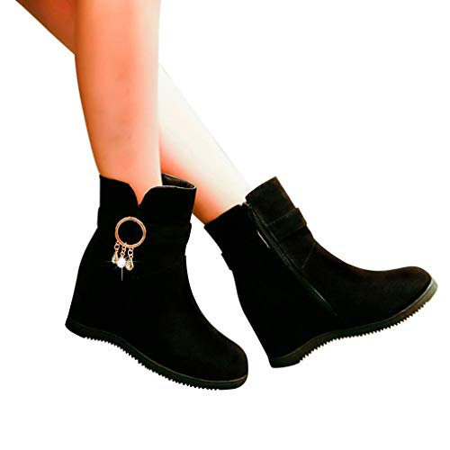 Women Suede Short Boots Wedges Low Zipper Middle Calf Boots Casual Shoes Martin Boots (US:7, (Laced Platform Knee High Boots)