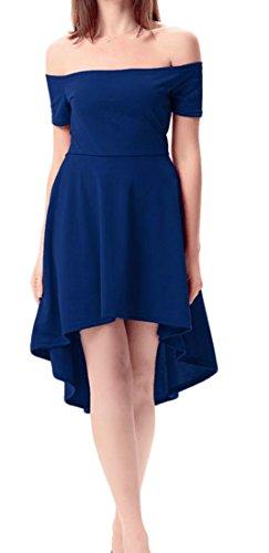 Grande Taille Tang Haut Des Femmes Chic De L'épaule De Robe De Soirée De Fête Asymétrique Bleu Saphir