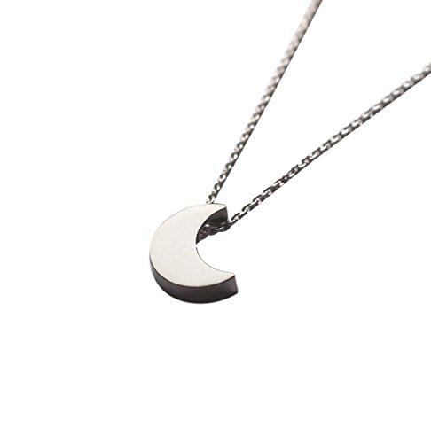 Amkaka S925 Sterling Silver Tiny Crescent Moon Pendant Necklace for Women