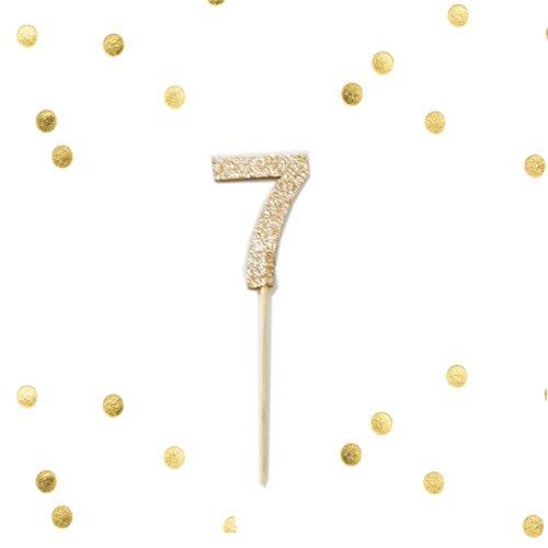 Set of 10 - Gold Glitter Number 7 Seven Cupcake Cake Picks,