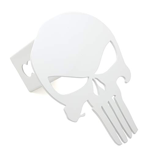 White Hitch Cover - SORHAN Punisher Trailer Hitch Cover Special Grade A Steel Fits 2 inch Tube Receiver (White)