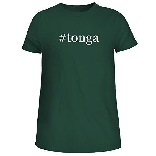 BH Cool Designs #Tonga - Cute Women's Junior Graphic Tee, Forest, (Opi Blush)