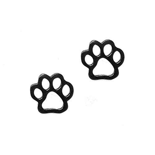 Joji Boutique Black Paw Print Outline Post Earrings