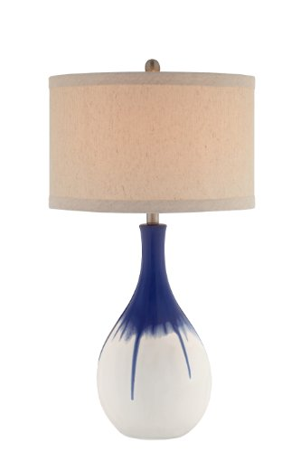 Catalina 19062-001 3-Way 30-Inch Cobalt Blue Ceramic Table Lamp with an Ombre Glaze and Linen Drum Hardback Shade, Bulb Included ()
