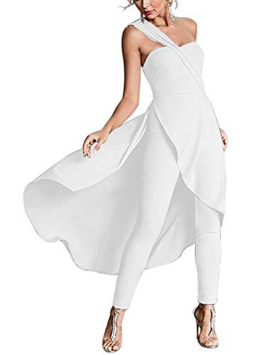 Women's One Shoulder High Low Hem Split Overlay One Piece Jumpsuit Romper Dress White Medium