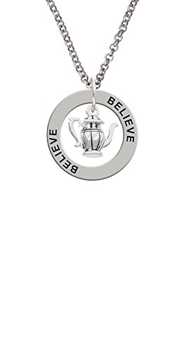 Tea Pot - Believe Affirmation Ring Necklace