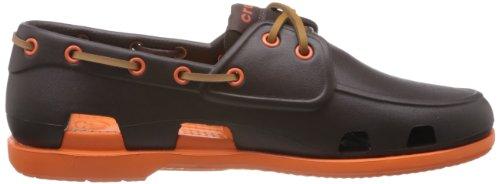 Crocs Hombres Beach Line Boat Shoe Espresso / Naranja
