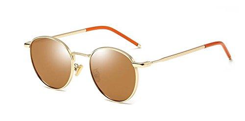 rond Brune style de Tranche cercle soleil retro inspirées vintage Lennon en métallique polarisées du lunettes aZq76w7