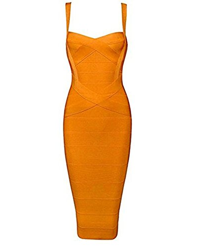 - Whoinshop Women's Rayon Strap Celebrity Midi Evening Party Bandage Dress (XS, Orange)