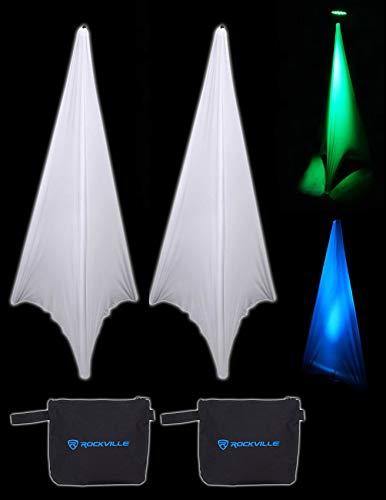 (2) Rockville RSC7W White Tripod PA Speaker Stand Scrims Cloth 360 Degree Cover