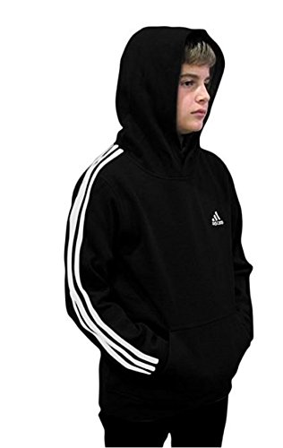 adidas Youth Fleece Collection (Youth Medium 10/12, Fleece Pullover Hoodie, Black/White)