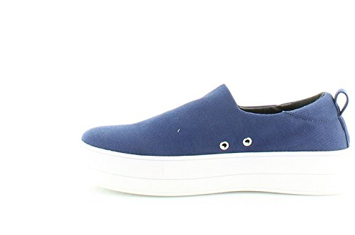 kensie Womens Deon Canvas Low Top Slip On Fashion Sneakers, Navy, Size 8.0 Rdjx