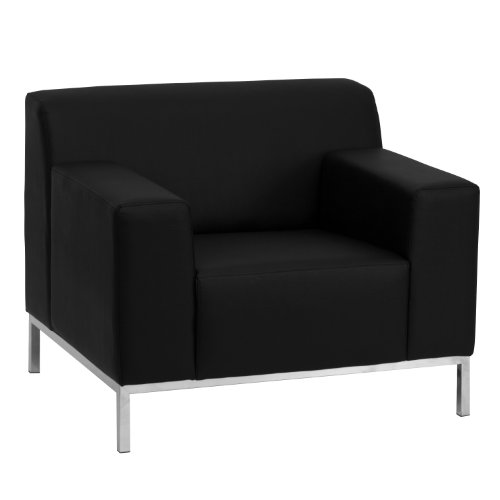 Flash Furniture HERCULES Definity Series Contemporary Black Leather Chair with Stainless Steel Frame