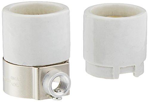 Leviton 4005 Medium Base, One-Piece, Keyless, Incandescent, Glazed Porcelain Lampholder, White
