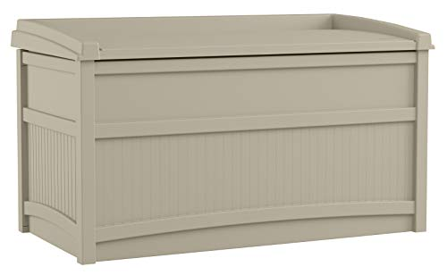 Suncast 50 Gallon Box Small Waterproof Outdoor Storage Container for Gardening Tools, Athletic Equipment and More Store Items on Deck, Patio, Backyard, Taupe