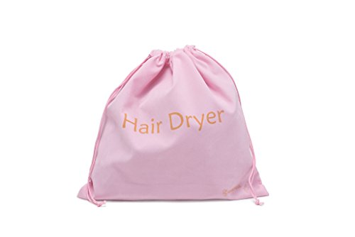 Extra Large 13.5 x 13.5in Girly Pink Drawstring Velvet Hair Dryer Bag- Gift- Ideal Storage For Curling Irons, Straighteners,Toiletry, and Brushes - Airbnb, Yoga Class, Gym Organizer Bag