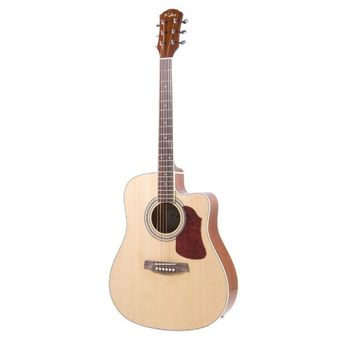 Kalos 41-Inch Acoustic Electric Dreadnought Cutaway Spruce Top Guitar with Gig Bag - DG222CEQ