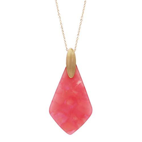 Rosemarie Collections Women's Geometric Diamond Shaped Lucite Statement Pendant Necklace (Fuchsia) (Lucite Pendant)