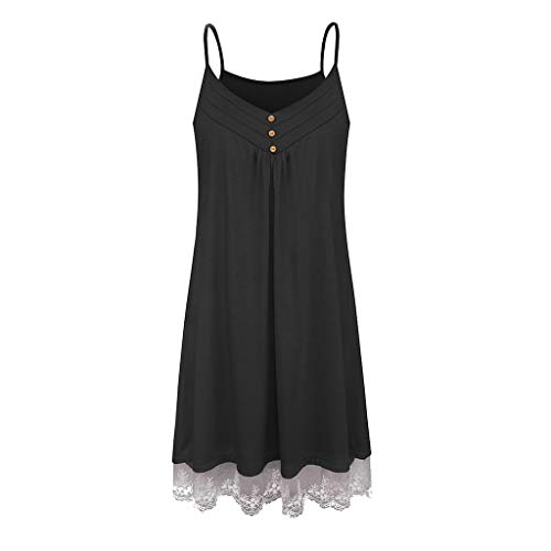 Casual Summer Dress for Women,YEZIJIN Women's Sleeveless Casual Suspender V-Neck Button Up Lace Backless Dress Black]()