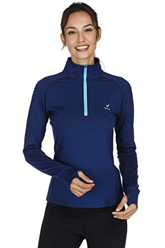 Performance 1/2 Zip Pullover Jacket - Vanis Women's Workout Yoga Track Jacket Long Sleeve Running Shirt 1/2 Zip Pullover (Blue, Medium)