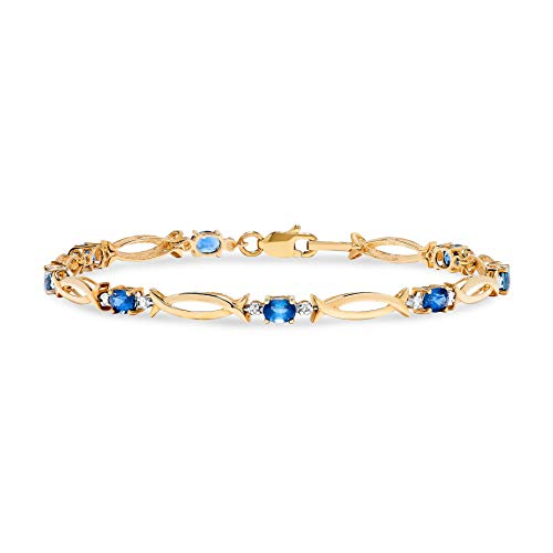 10k Yellow Gold Oval Blue Sapphire and Diamond Accent Link Bracelet