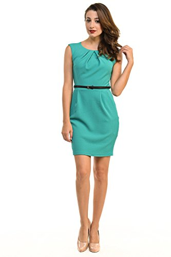 Auliné Collection Women's Color Office Workwear Sleeveless Sheath Dress Jade 1XL