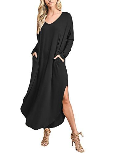 Moda Vestiti Elegante Nero Neck Camicia Vestito Abiti V Vintage Lunga Manica Baggy Orlo Forcella A Vestitini Puro Donna Lunga Giovane Aperto Abito Partito Colore gE0qxqI