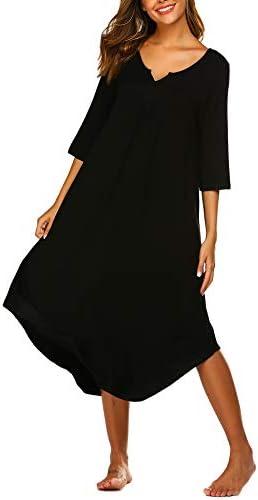 Ekouaer Nightgowns Long 3/4 Sleeve Women Lounge Dress Plus Size Loungewear Full Length Sleepshirt