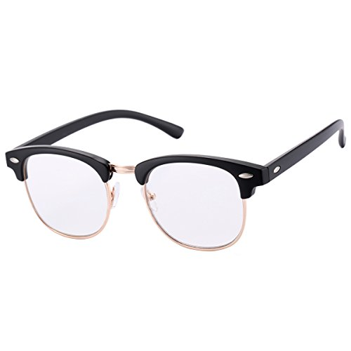 Classic Vintage Clubmaster Glasses with Clear Lens for Men Women Horn Rimmed Half Frame Eyeglasses(A Bright Black,50mm)