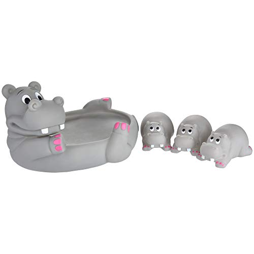 Leslily Hippo Bath Toy, Cute Animal Mummy and 3 Babies Squeaky Floating Bathtub Play Toys Hippo - Can be a Decorations to Baby Shower Birthday and Party Favors Educational Learning -